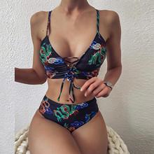 Sexy dwuczęściowe Bikini 2021 strój kąpielowy kobiety Retro Biquini Bandeau bandaż Bikini Set Push-Up brazylijskie stroje kąpielowe kostiumy kąpielowe strój kąpielowy tanie tanio JAYCOSIN CN (pochodzenie) Stałe Drukuj Osób w wieku 18-35 lat Wysokiej talii Drut bezpłatne swimwear women Pasuje prawda na wymiar weź swój normalny rozmiar