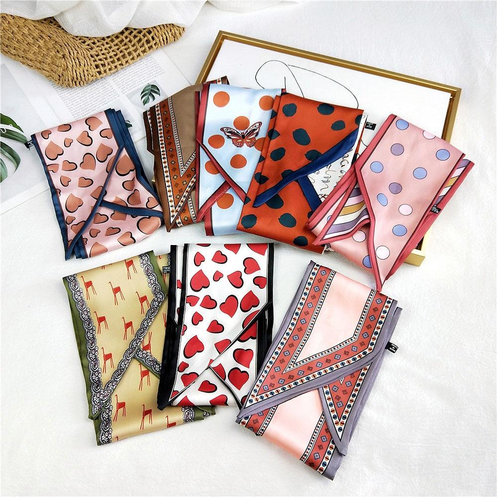 2020 New Style 145*13cm 35colors Luxury Brand Design Twill Scarf Double-deck Women Fashion Tie Neckerchief Head Silk Scarves
