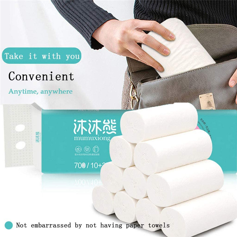 12 Rolls/Lot Toilet Paper Portable Tissue Paper Cleaning Soft Towel Safety Household Paper Thickened Toilet Bamboo Pulp Paper