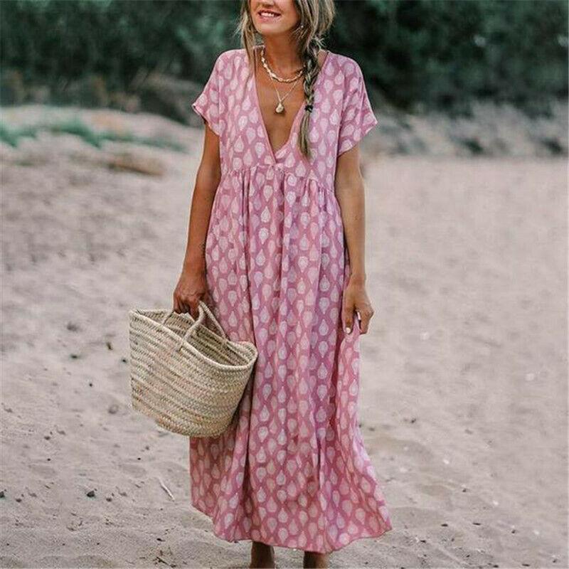Womens Boho Floral Arrival Baggy Tunic Dress Loose Kaftan Beach Holiday Sundress