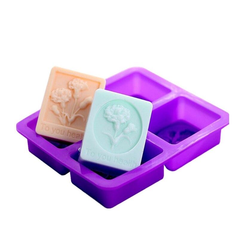 Силиконовая форма для мыла, 1 шт., форма для домашнего самодельного квадратного мыла, силиконовая форма для изготовления лопастей с 4 ячейкам...