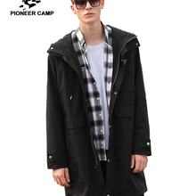 Long-Coat Windbreaker Trench Black Autumn Fashion Casual Pioneer New Camp Full AFY908373