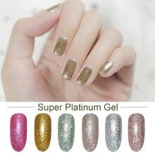 Bozlin супер платиновый гель лак для ногтей блесками 6 цветов замочить УФ лак ногтей гель для ногтей длительный