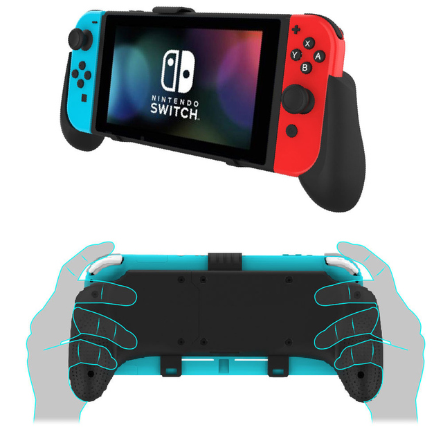 Nintend Switch And Switch Lite Mini 2019 Grip Case Ergonomic Non Slip Handle Stretchable  Handgrip with Detachable Hook Stand