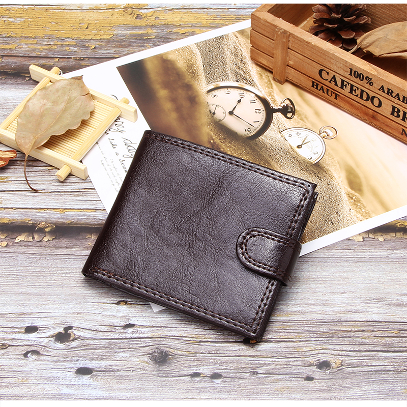 Brief Slim Men Wallet With Coin Pocket Bifold Short Purse Pu Leather Men's Business ID Card Holder Portable Hasp Male Clutch Bag