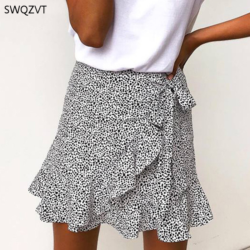 2020 Spring Summer Fashion Women Short Mini Skirts Casual Ruffled Women Skirt  Leopard Print Skirts Womens New Ladies Clothing