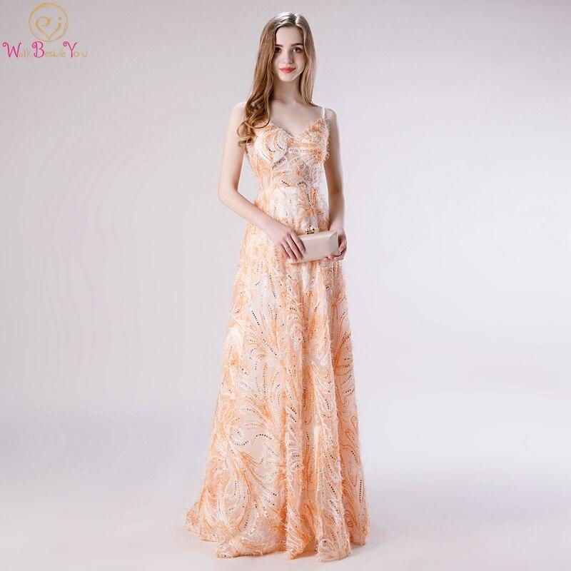Élégant Orange a-ligne formelle fête filles robes de bal 2019 longs vestidos de gala bretelles Spaghetti robes de soirée marcher à côté de vous