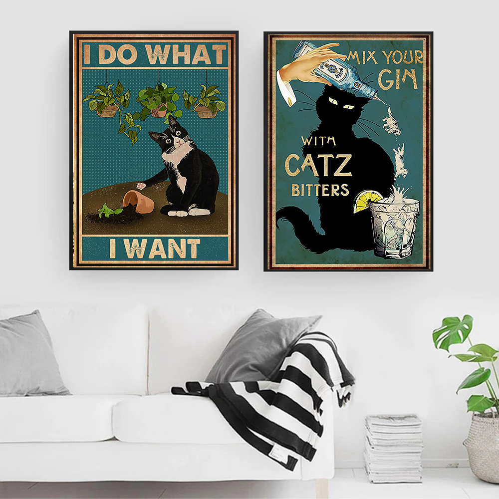 Mental Black Cat Poster I Do What I Want Quote Art Print Vintage Mix  Your Gin Funny Bathroom Garden Canvas Painting Home Decor