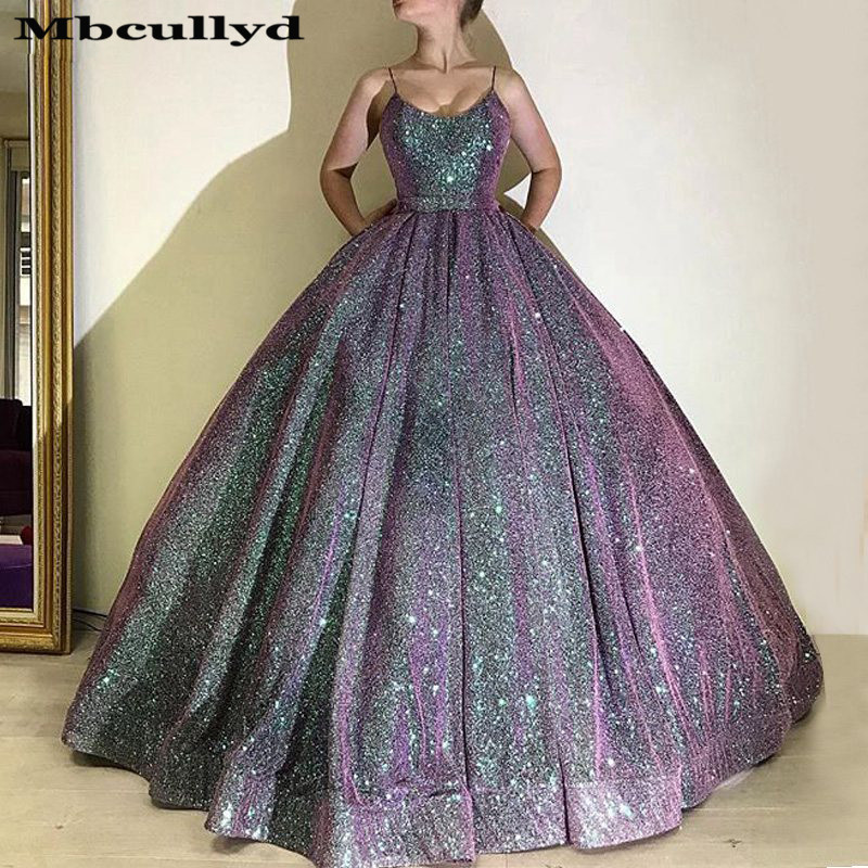 Mbcullyd Glitter Sequined   Prom     Dress   2019 Luxury Ball Gown Long   Dresses   Evening Pageant For Women Plus Size Vestidos De Gala