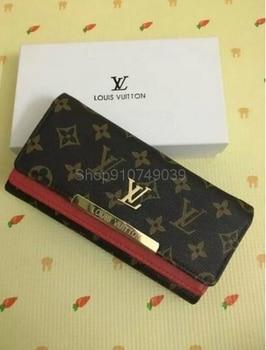 Роскошные женские кошельки Louis Vuitton LV, модный длинный кожаный держатель для карт высшего качества, Классический женский кошелек, брендовый б...