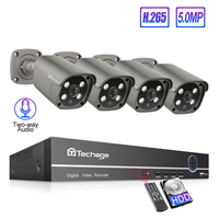 Techage 4CH 5MP POE NVR AI Human Detection IP Camera System H.265 Two way Audio Outdoor HD Security CCTV Video Surveillance Kit