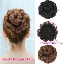 Бразильские человеческие волосы пучок для наращивания на шнурке шиньоны волосы кусок парик шиньон не Реми Замена Halo леди цветок невесты бутон
