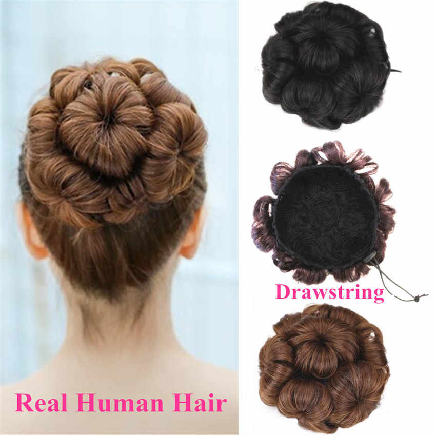 Brazilian Human Hair Bun Extensions Drawstring Chignons Hair Piece Wig Hairpiece Non-remy replacement Halo Lady Flower Bride Bud