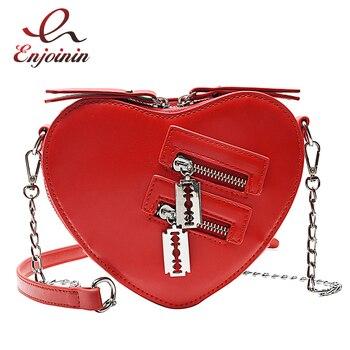 Fashion Women Purses and Handbags  Red Love Heart Shape Shoulder Bag Ladies Chain Crossbody Bag Pu Leather Clutch Bag Tote Bag
