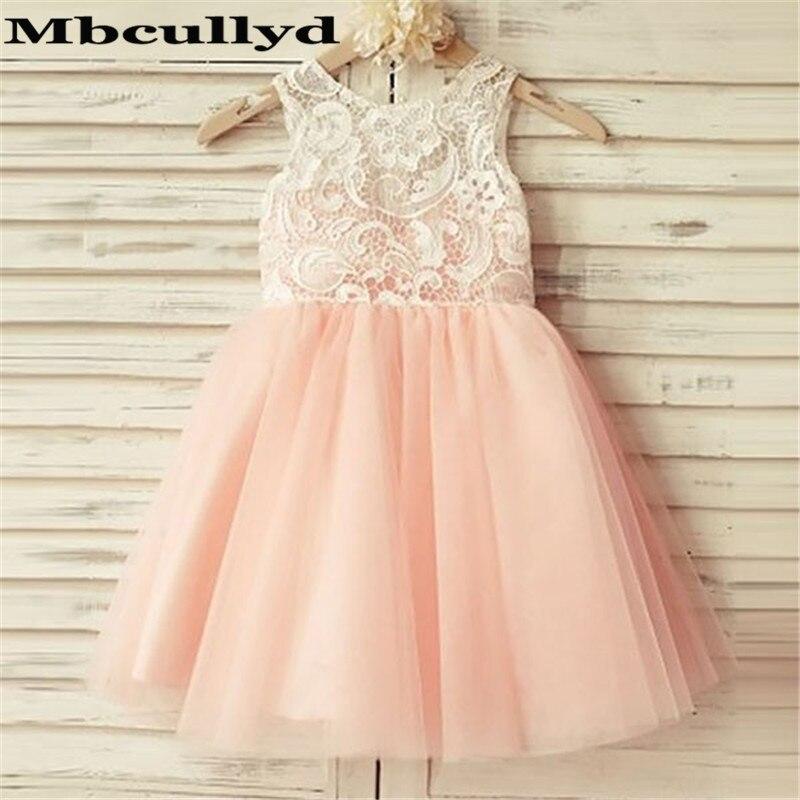 Mbcullyd Lovely Pink   Flower     Girl     Dresses   For Weddings 2019 Short Knee Length Primera Comunion Gowns Littler   Girls   Birthday   Dress