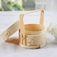 Mini Bamboo Steamer 6*8cm with Handle Creative Wedding Decor Food Container Flower Arrangement Small Bamboo Cage Steamer Basket