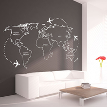 World Map Airplane Around Wall Stickers for Living Room Home Background Art Decoration Vinyl Wallpaper Poster LW354
