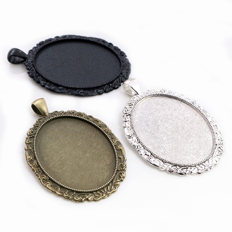 New Fashion 5pcs 30x40mm Inner Size Antique Silver Black And Bronze Plated Flowers Style Cabochon Base Setting Charms Pendant