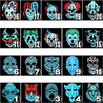 Halloween Maske LED Licht Up Party Masken Festival Cosplay Kostüm Liefert Zucker Schädel Mascara Tier Maska Witz Karneval Horror
