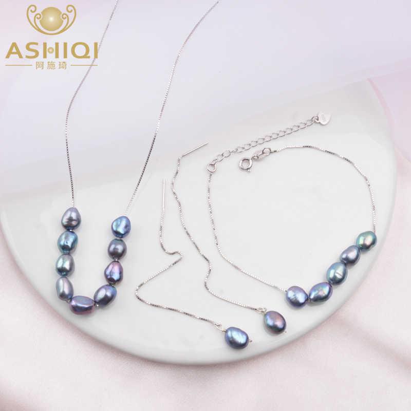 Ashiqi 925 スターリングシルバージュエリーバロック淡水真珠のネックレスのイヤリング女性のための新