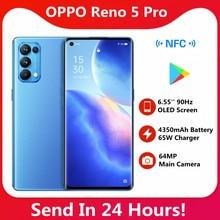 Oryginalny Oppo Reno 5 Pro 5G inteligentny telefon 4350mAh bateria 6400MP aparat 65W Super ładowarka Google Play sklep 6.55 Cal inteligentny telefon