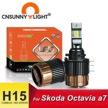 CNSUNNYLIGHT لمبات المصباح الأمامي للسيارة ، لمبة CANBUS 15000Lm 5700K ، استبدال DRLs لسكودا اوكتافيا a7 ، بدون وميض ، H15