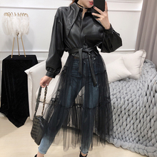 LANMREM 2020 Spring New Jackets Women Fashion Solid Color Long Mesh Gauze Stitching PU Leather Coat With Belt Female PB279 cheap Slim Ages 18-35 Years Old Turn-down Collar zipper Outerwear Coats High Street Full Flare Sleeve STANDARD COTTON Zippers