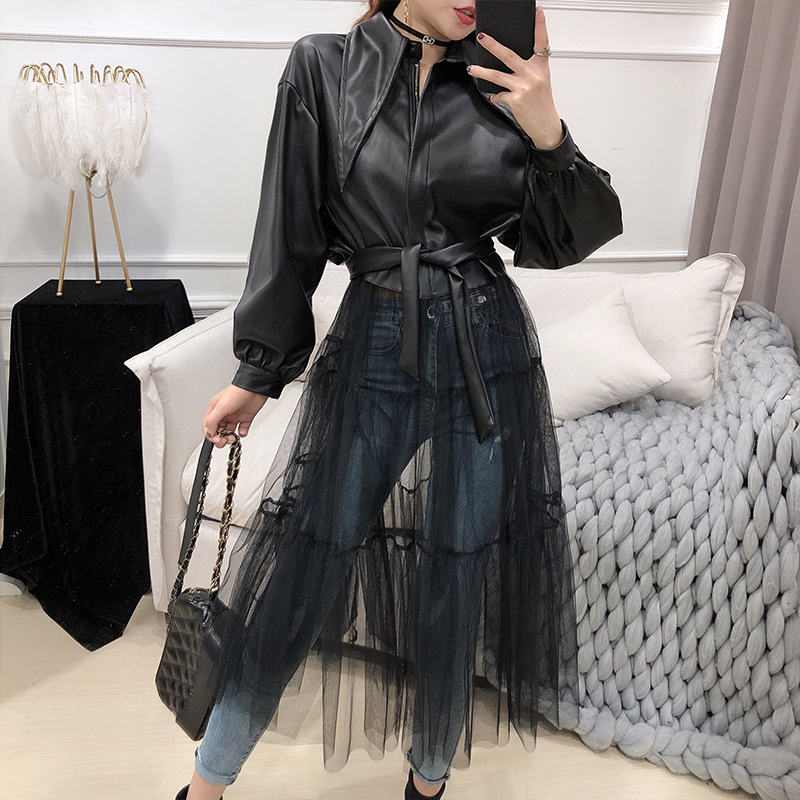 LANMREM 2020 Spring New Jackets Women Fashion Solid Color Long Mesh Gauze Stitching PU Leather Coat With Belt Female PB279
