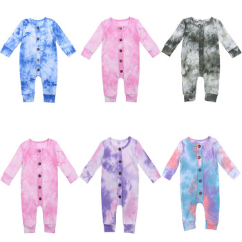 Baby Boys Girls Romper Cotton Long Sleeve Tie Dye Print Button Long Sleeve Jumpsuit Infant Clothing Autumn Newborn Baby Clothes baby romper infant toddler boys gentlemen clothes bowknot long sleeve cotton rompers body clothing jumpsuit