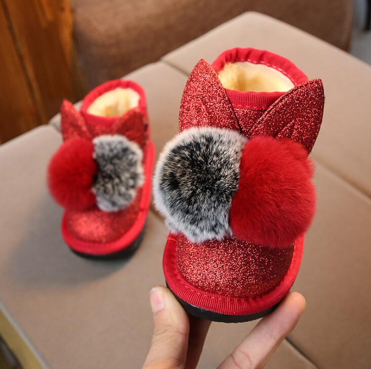 Hot Winter Children's Sequins Boots Cute Wear Girls Snow Boots Boys Cotton Shoes Baby Shoes Boots Pink Black Red