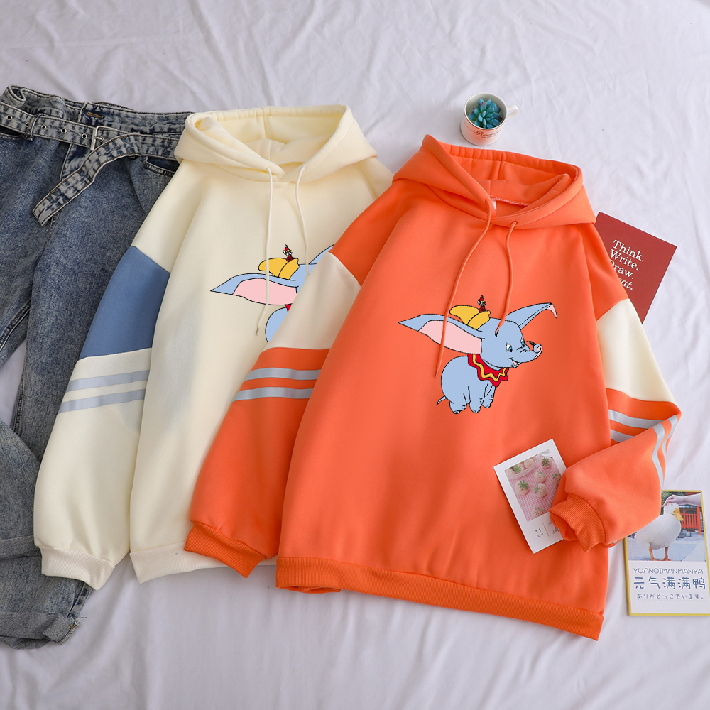 Zaraing Dumbo New Women Hoodies The Flying Elephant Funny Sweatshirts Long Sleeve Hot Sale Female Casual Streetwear Thicken