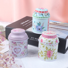 Storage-Case Tin-Box Iron Flower-Series Gift Round Metal Cute Candy Container Home Print