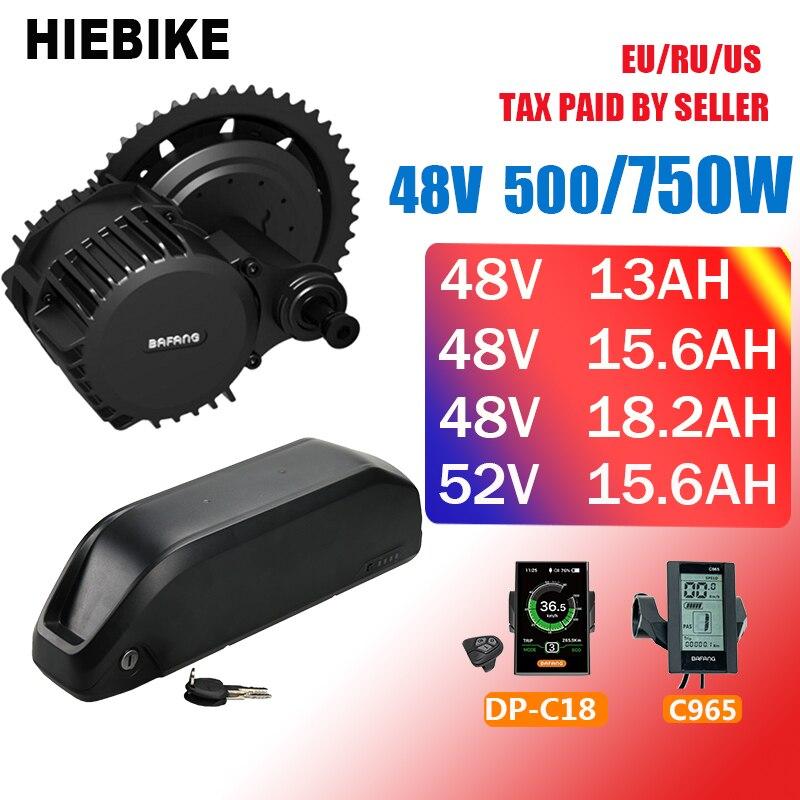 Kit moteur 48v 500/750w Bafang avec batterie 48/52v 13/15. 6/18. 2AH Kit vélo électrique nouveau Kit de Conversion Ebike 8fun BBS02 BBS02B