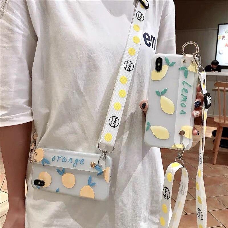 Fashion Crossbody Lanyard Lemon Wrist Strap Holder Case For Samsung A51 A71 S20 Ultra S8 S9 S10 S20+ Note 10 8 9 A30 A40 A50 A70