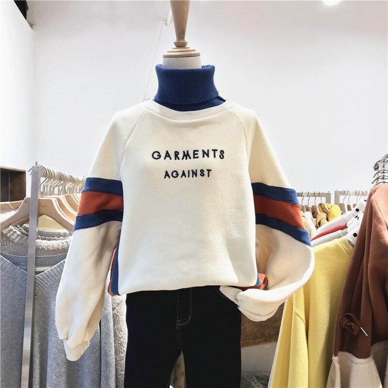 Autumn 2019 New Women Wear High Collar Spliced Turtleneck Fashion Sweatshirt