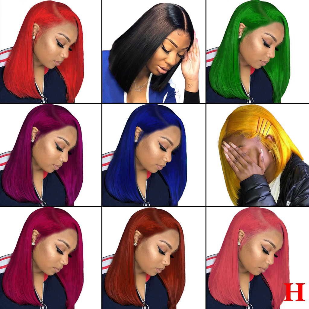 13x6 Lace Front Human Hair Wigs Straight Bob Transparent Lace Wig Pink Red Orange Highlight Colored Ombre Human Hair Wig