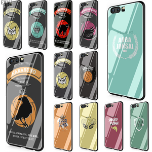 EWAU HAIKYUU!! Karasuno Nekoma Crest Tempered Glass phone case for Huawei P10 P20 P30 Mate 20 Lite pro P Smart Y6 Y9 Honor 8X 9