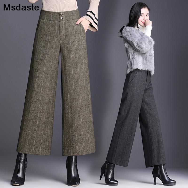 Woolen   Pants   Women 2019 Winter Warm Ankle-Length Flare Trousers Striped Plaid Office Female Pantolone Formal Lady   Wide     Leg     Pants
