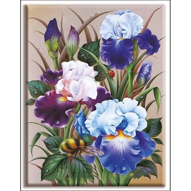 Broderie, fleurs Iris, point de croix 2