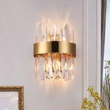 Modern LED kristal duvar aplikleri yüksek kalite krom duvar lambaları yatak odası başucu lambası başlık merdiven aydınlatma armatürleri