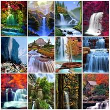 5D алмазная живопись пейзаж Вышивка крестиком полная квадратная Алмазная вышивка водопад мозаичная картина Стразы домашний декор