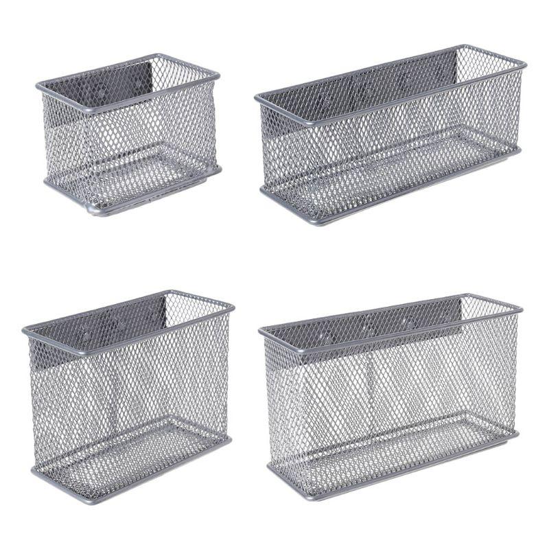 Durable Refrigerator Wire Mesh Magnetic Basket Storage Box Pen Makeup Organizer Office Supplies Storage