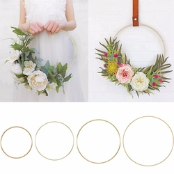 10-40cm Gold Metal Ring Flower Wreath Garland Weeding Decoration for Weddings Bridal Shower Home Party Decoration Catcher Hoops
