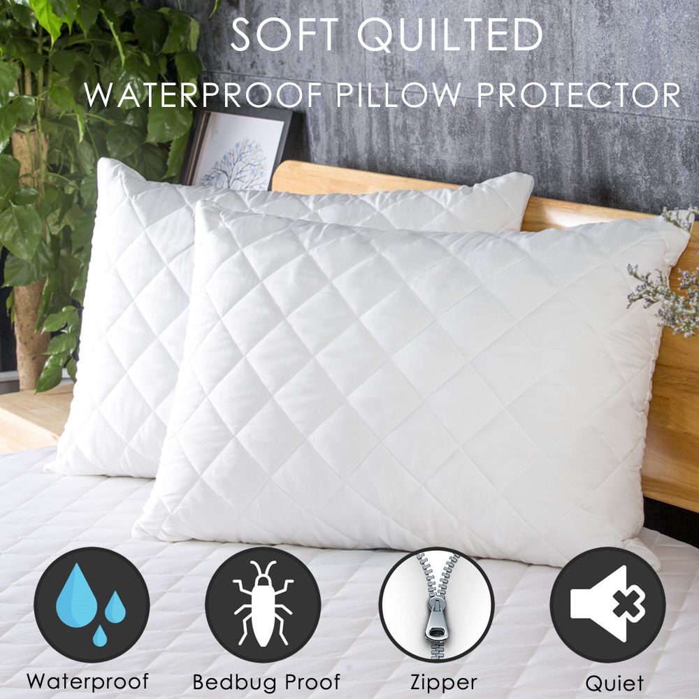 lfh standard queen king size quilted waterproof pillow protector 2pcs lot soft breathable bed pillow cover bedbug proof