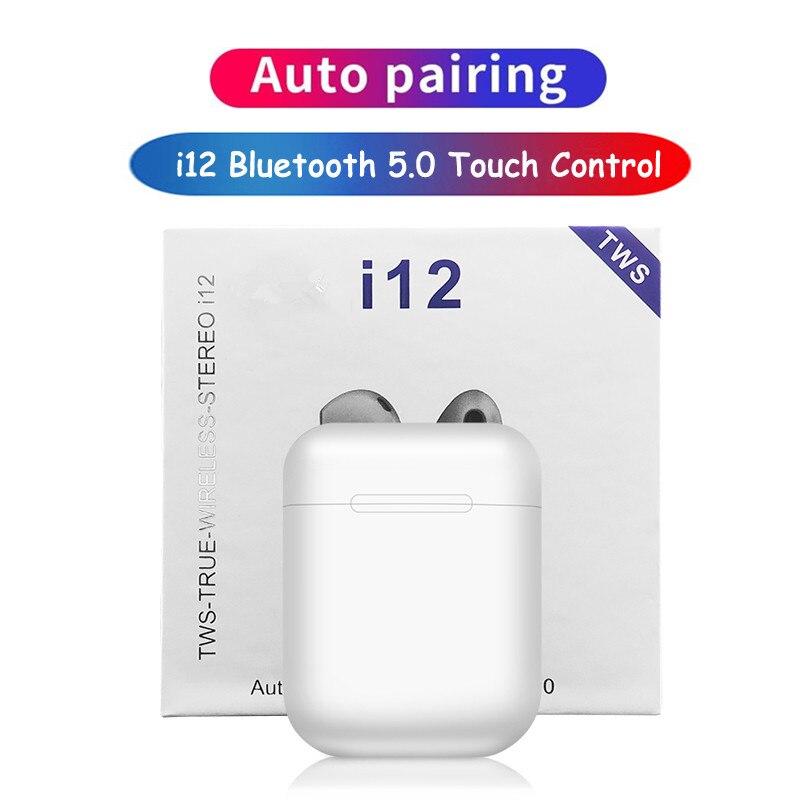 Véritable écouteurs stéréo sans fil i12 TWS Bluetooth écouteurs Mini casque sans fil casque tactile fone de ouvido PK i7s i9s i11