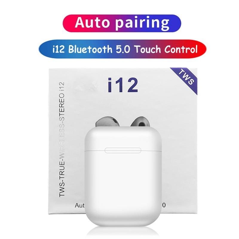 Verdadeiro i12 TWS Mini Fone De Ouvido Bluetooth Sem Fio Fones de Ouvido Estéreo Sem Fio fone de Ouvido fone de ouvido Fones De Ouvido de Toque i7s PK i9s i11