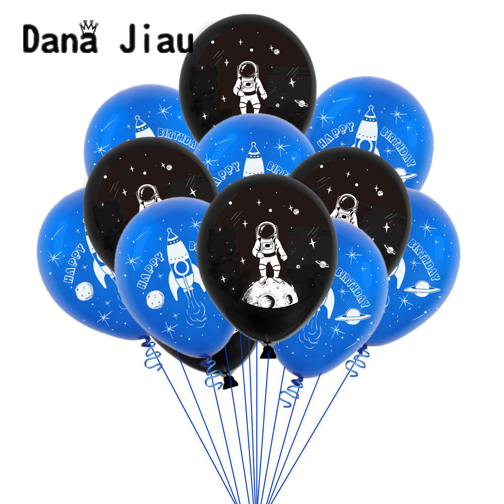 12inch 10pcs/set astronaut rocket latex balloon <font><b>10</b></font> <font><b>years</b></font> old boy HAPPY <font><b>BIRTHDAY</b></font> party <font><b>decoration</b></font> earth planet explore theme ball image