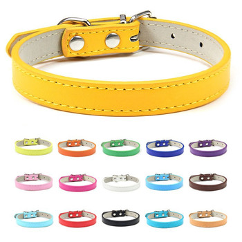 PU Leather Pets Dog Collar Pure Color Adjustable Soft Small Medium Large Dogs Neck Strap Puppy Cat Supplies Asccessories Collars pu leather solid soft colorful pet dog collar for small medium large dogs neck strap adjustable safe puppy kitten cats collar