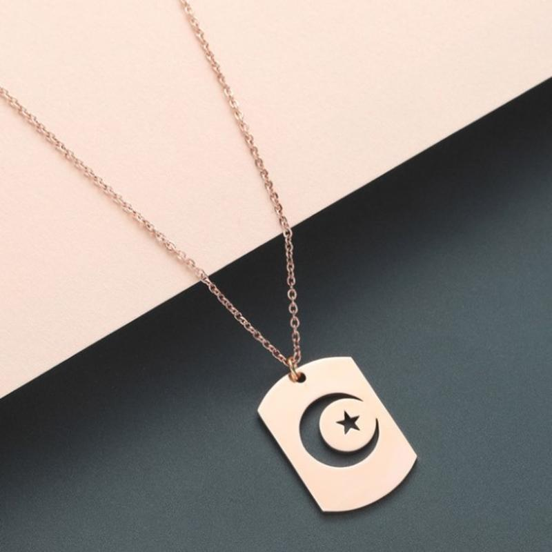 New Stainless Steel Mens Necklace Night Sky Crescent Moon Star Dog Tag Pendant Necklaces for Women Islamic Muslim Jewelry