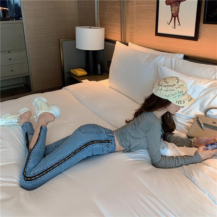 Личность с боковыми разрезами джинсы застежкой молнией Для женщин